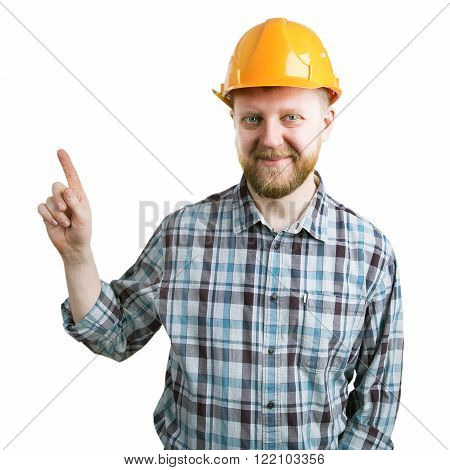 Bearded man in a helmet shows the index finger upward