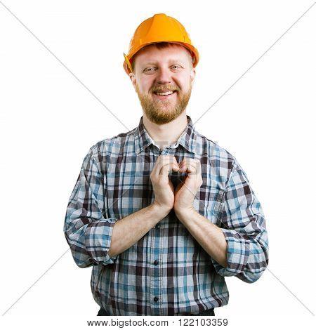 Man in an orange helmet showing hands heart