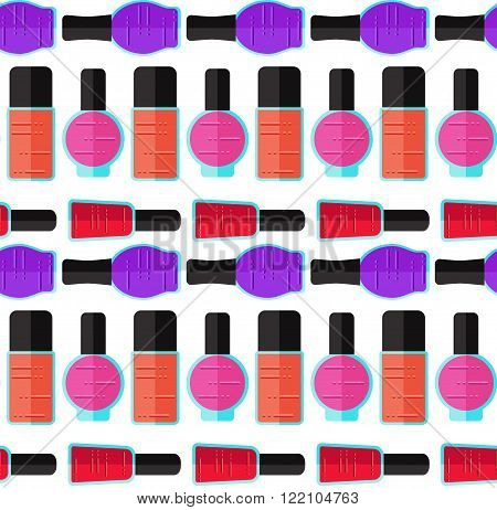 Modern nail polish semless vector pattern. Different bottles and different colors. Beuaty illustration.