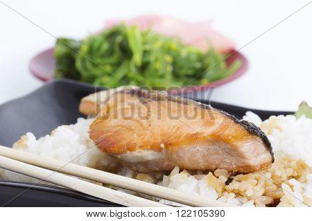 Grilled Salmon Teriyaki with rice / Selective focus