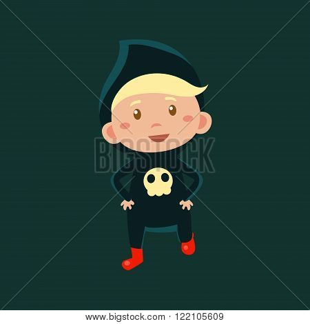 Boy In Jumpsuit With Scull Haloween Disguise Funny Flat Vector Illustration On Dark Background