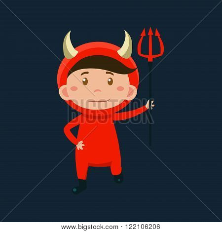 Boy In Red Devil Haloween Disguise Funny Flat Vector Illustration On Dark Background