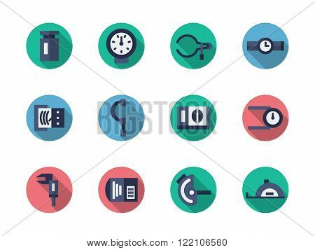 Measuring tools round flat color vector icons