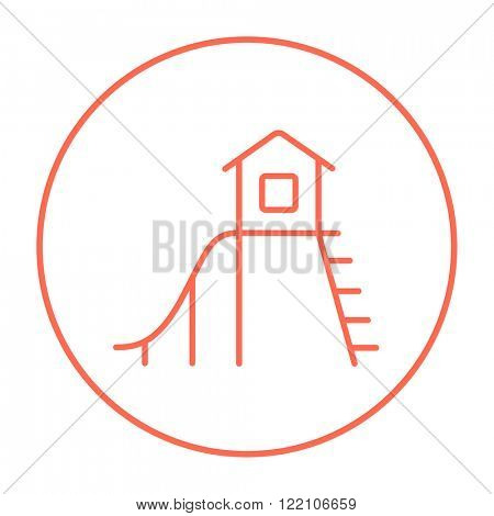 Playhouse with slide line icon.