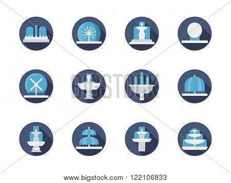 Fountains blue round flat color vector icons