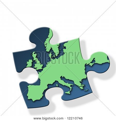 Jigsaw piece with green Europe outline on white background with drop shadow effect.