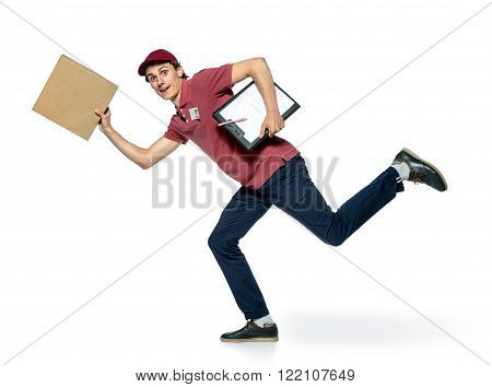 Male courier company worker delivering a package. isolated on white background