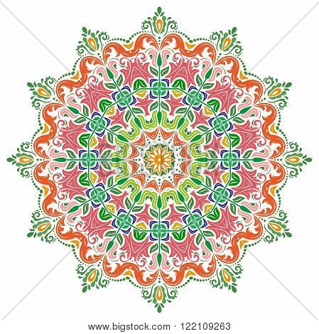 Elegant vector ornament in the style of barogue. Abstract traditional colorful pattern with oriental elements