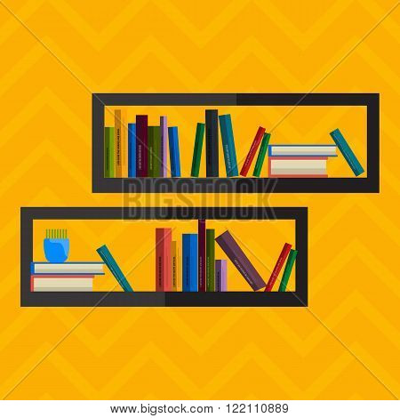 Illustration of bookshelfon wall with books in vector, flat style.