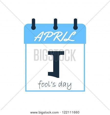 April Fools joke calendar sheet. Fool's day calendar sheet. Inverted 1st. Day of laughter and jokes. April Fool's day. Vector illustration. Isolated on white.
