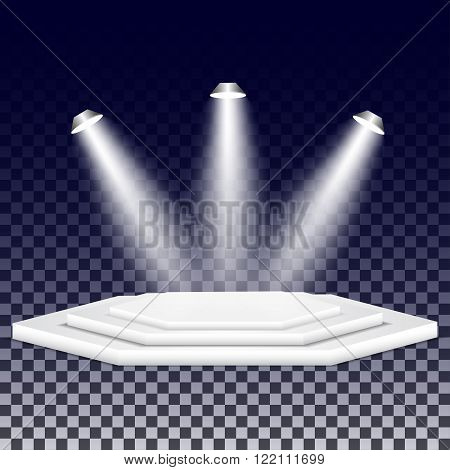 Multi-faceted podium with spotlights. Empty multi-faceted scene with floodlights. White multi-faceted stage with projectors.