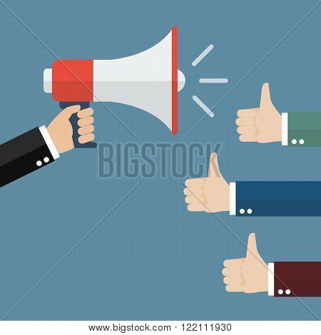 Good announcement. Vector Illustration leadership business concept