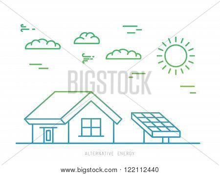 Alternative energy. Alternative energy concept. Solar energy. Solar panels. The installation of solar panels.