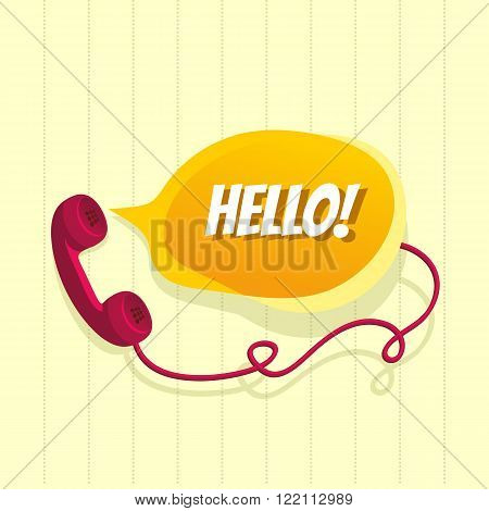 Phone with chat bubble and word Hello