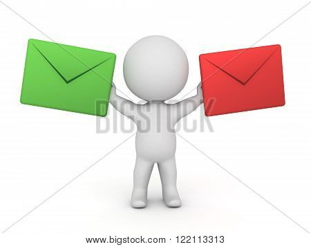 3D character holding two large mail envelopes - a green mail and a red mail. Isolated on white background.