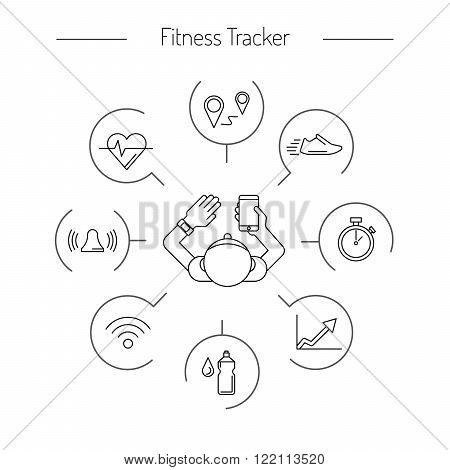 Fitness tracker with pedometer function. Fitness tracker with heart rate monitor. Sync your fitness tracker with your smartphone. Outline style.