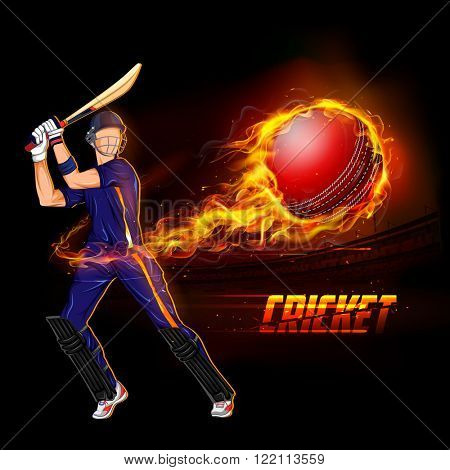 illustration of batsman playing cricket championship with fiery ball