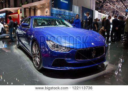 Geneva, Switzerland - March 1, 2016: Maserati GranTurismo, front-side view presented on the 86th Geneva Motor Show in the PalExpo