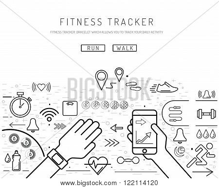 Fitness tracker with pedometer function. Fitness tracker with heart rate monitor. Fitness tracker with alarm function. Sync your fitness tracker with your smartphone. Lineal style. poster