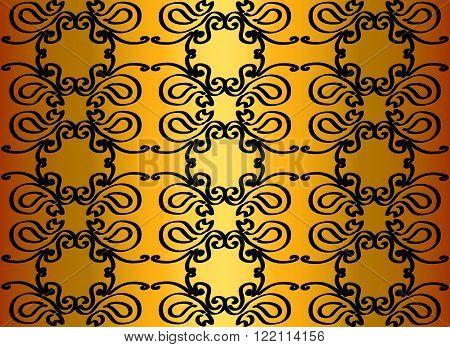Black pattern on a shimmering gold background