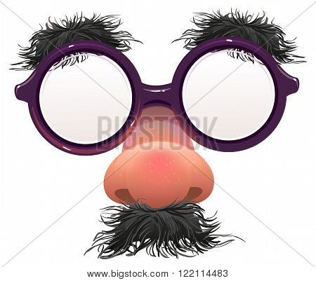 Funny glasses nose. Surface nose and glasses. Black eyebrows, mustache. 1 April Fools Day. Isolated on white vector illustration