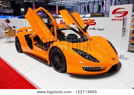Geneva, Switzerland - March 1, 2016: Sin Car R1, front-side view presented on the 86th Geneva Motor Show in the PalExpo