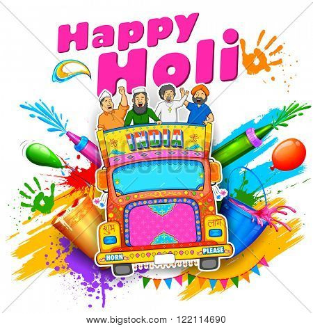 illustration of people of different religions of India celebrating Happy Holi