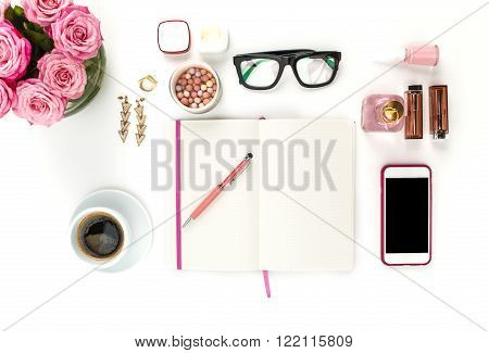 Still life of fashion woman,  top view of fashion woman objects on white. Concept of female mockup