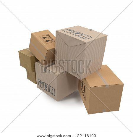 Stacks of cardboard boxes isolated on white background.