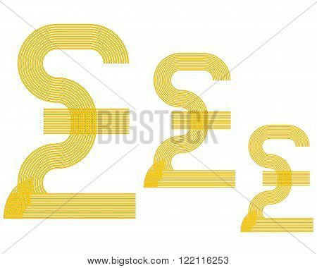 British currency pound sign sterling yellow in color
