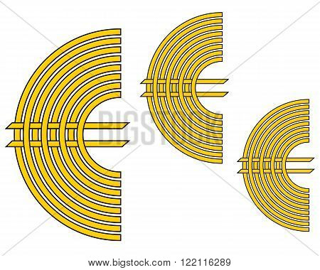 three signs European currency yellow in color on a white background