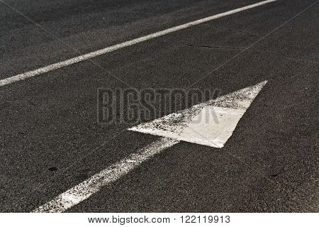 Line And Arrow On Asphalt Surface