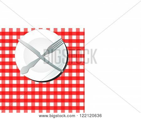 Plate with fork and knife on the table with a red tablecloth
