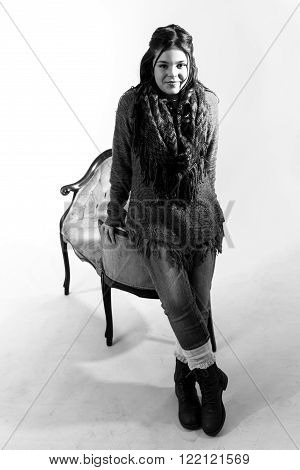 Cute fun and stylish caucasian tween girl standing