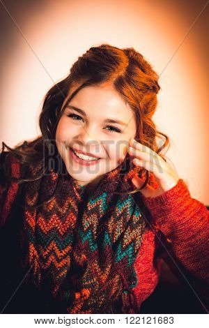 One cute stylish caucasian tween girl laughing