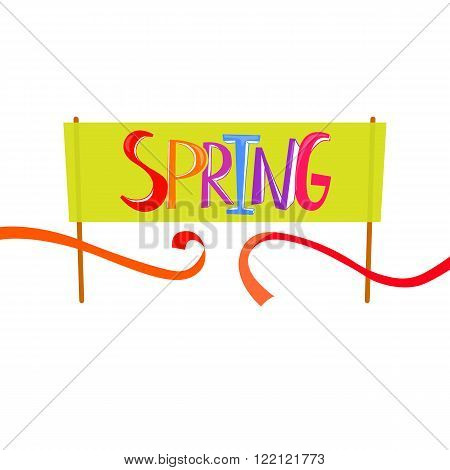 Spring Time lettering on banner background. Spring start and finish concept. Banner design with cut red tape. Starting line. Finish line ribbon.
