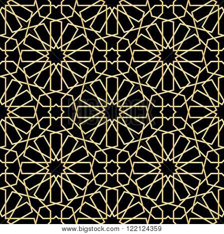 Moroccan pattern. seamless vector background. Geometric black texture. Vector illustration