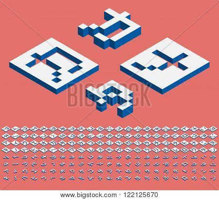 Pixel Japanese Katakana alphabet vector font. Three-Dimensional stock vector. Engraving Japanese letters a perspective view from above.
