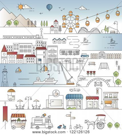 CITY IN LINE ART, FLAT ICONS STYLE. Editable vector illustration file.