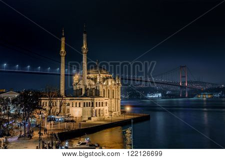 Ortakoy Mosque and the Bosphorus Bridge at night Istanbul Turkey
