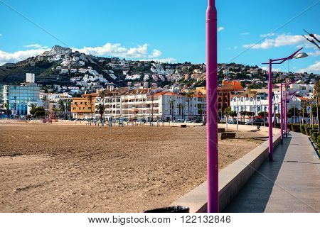 Peniscola town. Costa del Azahar province of Castellon Valencian Community. It is a popular tourist destination in Spain