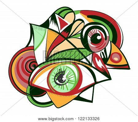 Design element with eyes isolated on a white background. Style of Abstract art Suprematism Constructivism suitable for prints posters and covers.