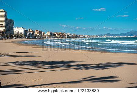 Peniscola coastline. Costa del Azahar province of Castellon Valencian Community. It is a popular tourist destination in Spain