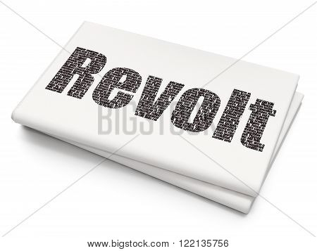 Politics concept: Revolt on Blank Newspaper background