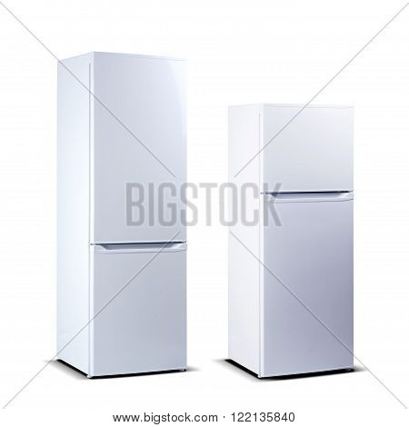 Two white refrigerators, fridge freezers isolated on white
