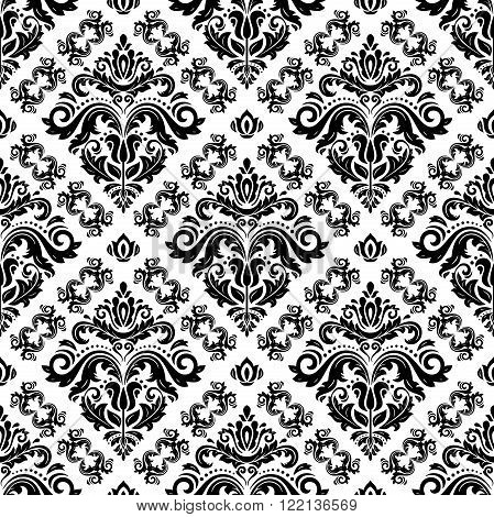Seamless oriental black and white ornament in the style of baroque. Traditional classic vector pattern