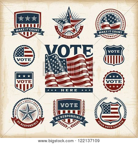 Vintage USA election labels and badges set. Editable EPS10 vector illustration with transparency.