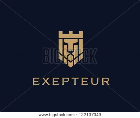 Lion face crown shield vector logotype. Heraldic premium logo icon sign. Universal company symbol