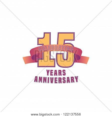 Vector design for fifteen years anniversary celebration