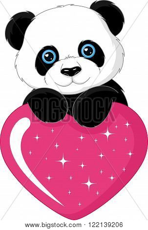 mage heart with panda on white background